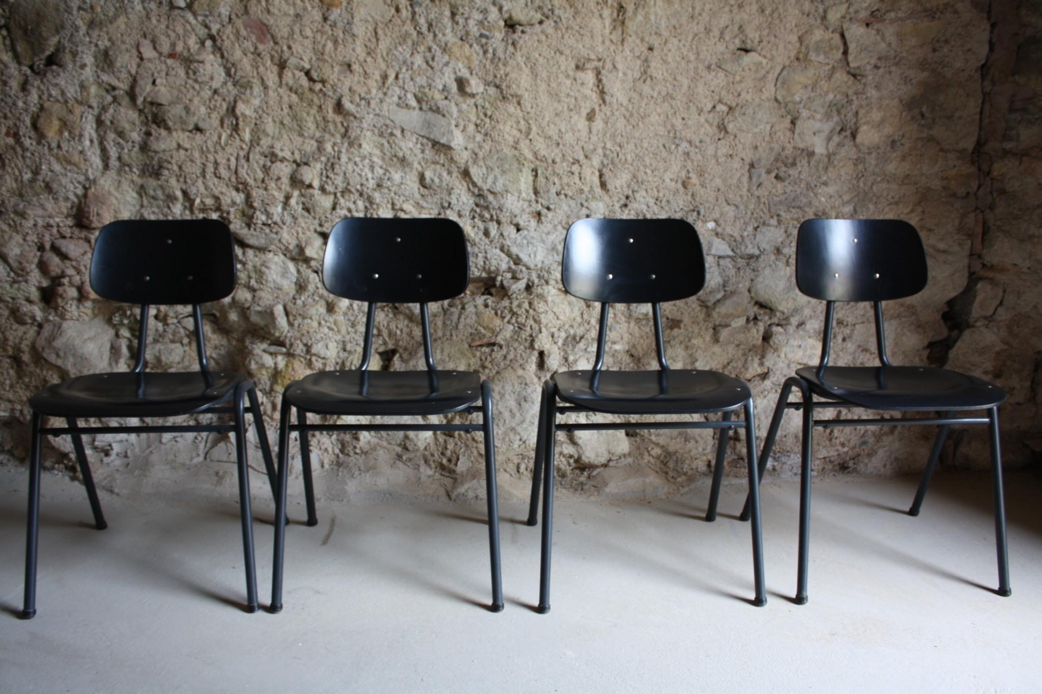 VS Schul Stühle Werkstatt Vintage Loft Stahlrohr schwarz (1)