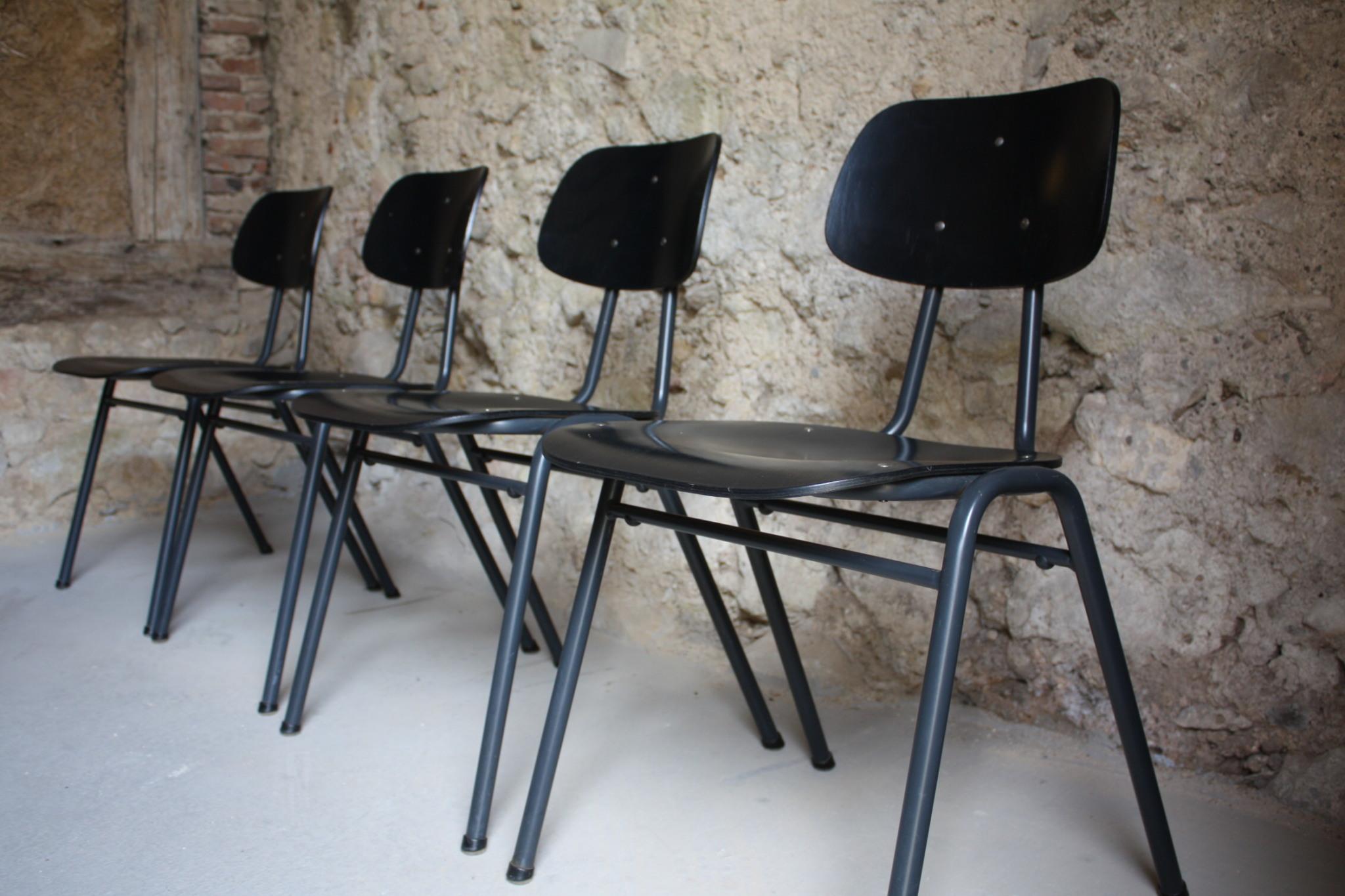 Vintage Stühle vs schul stühle werkstatt vintage loft stahlrohr schwarz 5