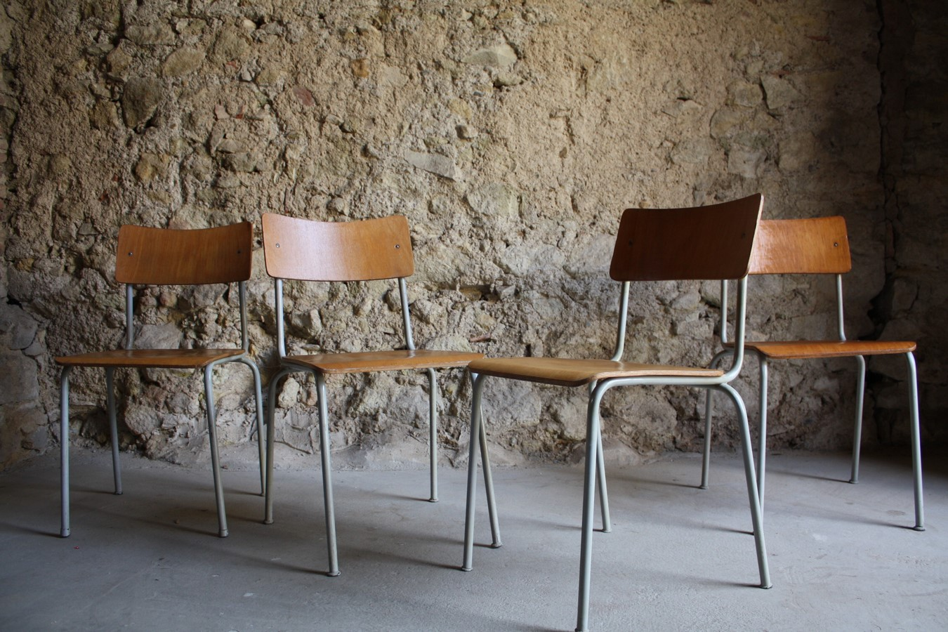 Industrie Design Stühle Stuhl gebraucht Vintage Loft Holz (72) a
