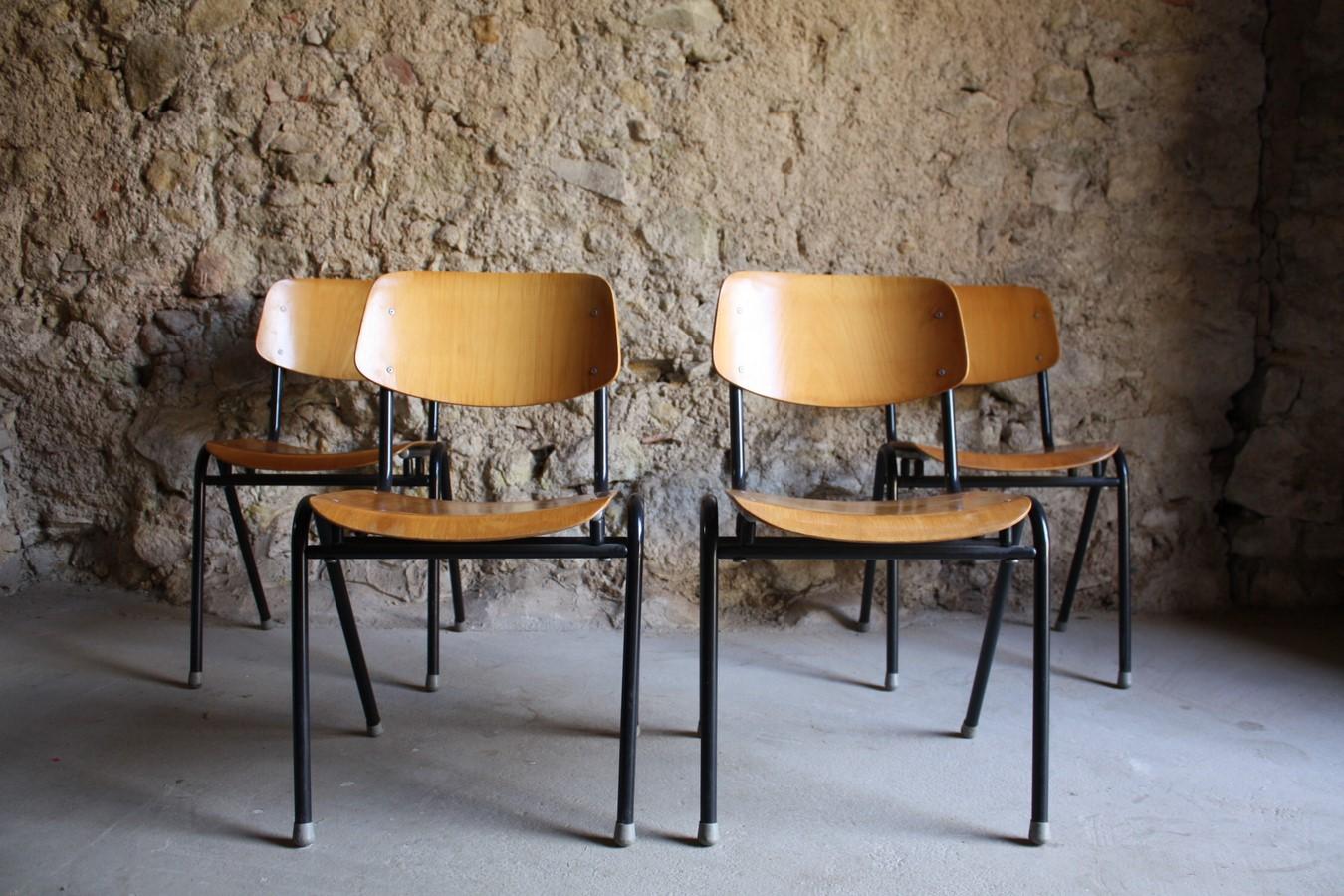 Industrie Industrial Design Stühle Schul Stuhl gebraucht Vintage Antik Loft Stahlrohr Holz (43) a