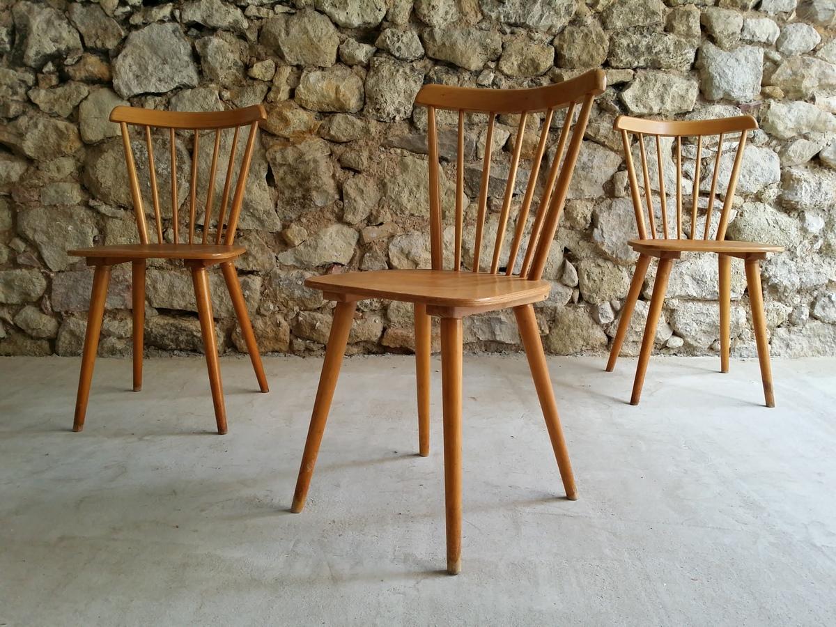 Sprossen Speichen Stuhl 1950 1960 Mid Century Buche Holz (8) a