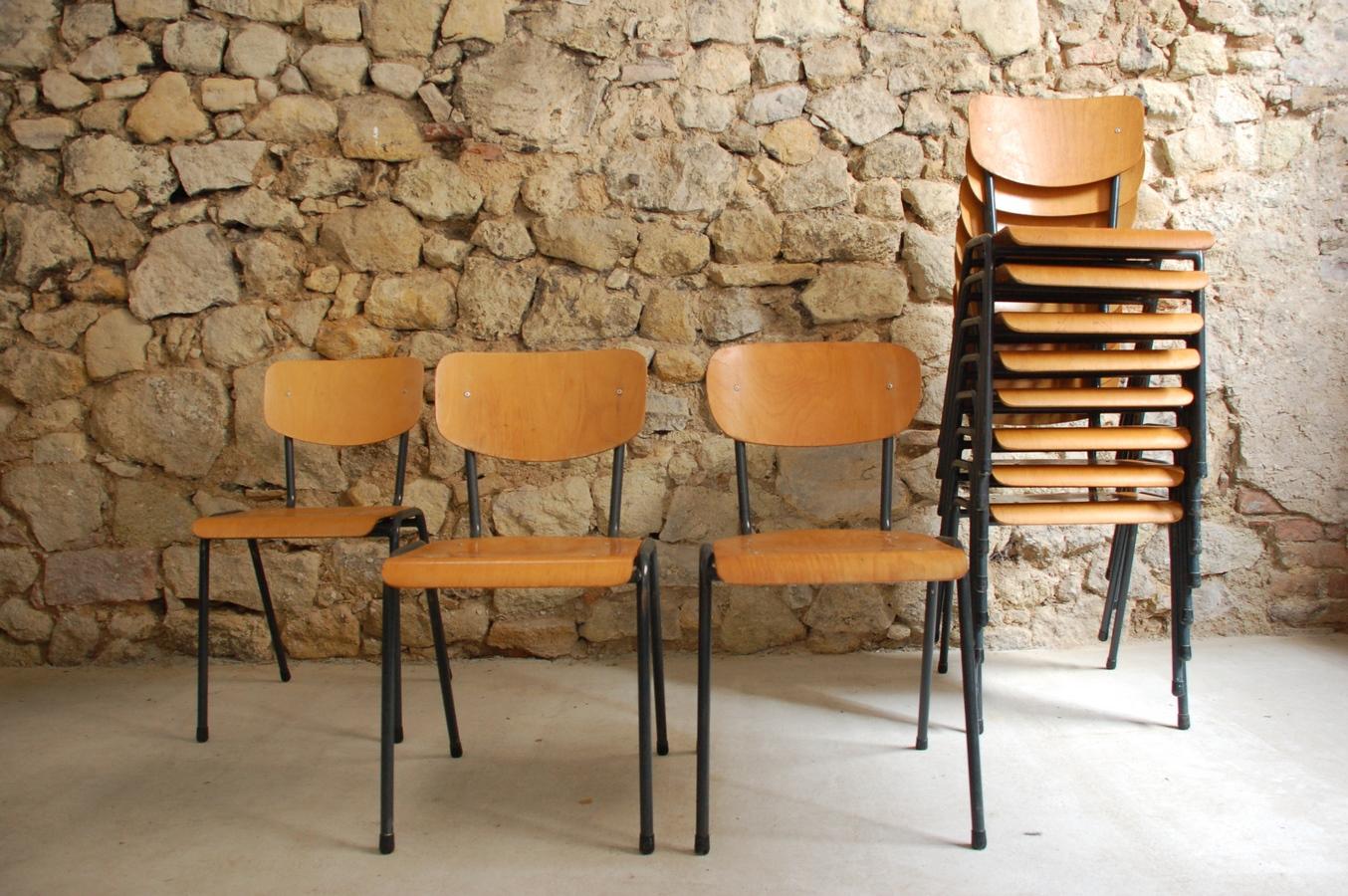 Holz Stühle Metall gebraucht Vintage Gastro Industral Design Klassiker Loft (8) a