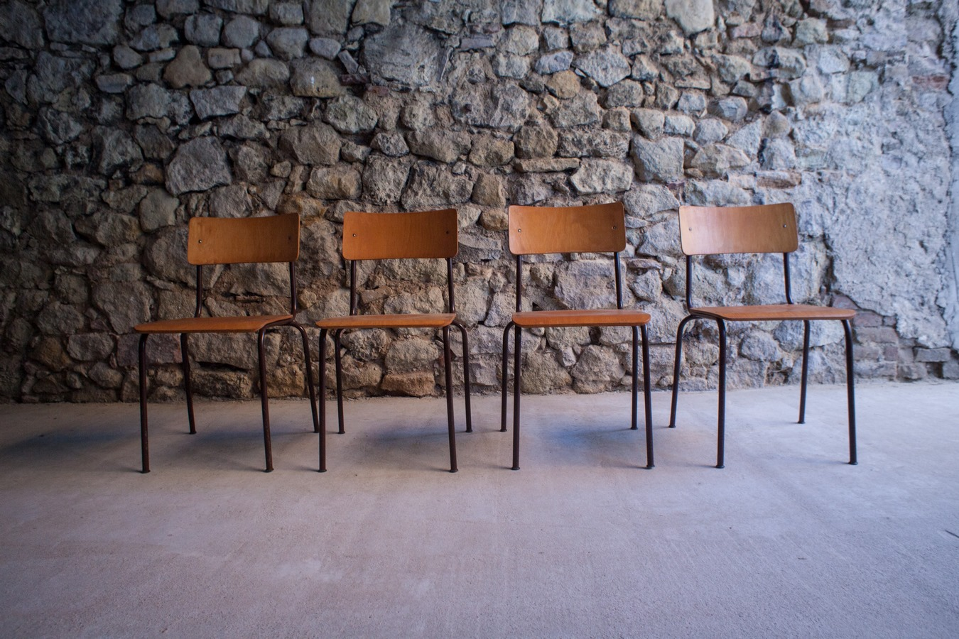 Vintage Stuhl aus Holz Eisen LC Stendal Kantinenstuhl 3101 Loft 3