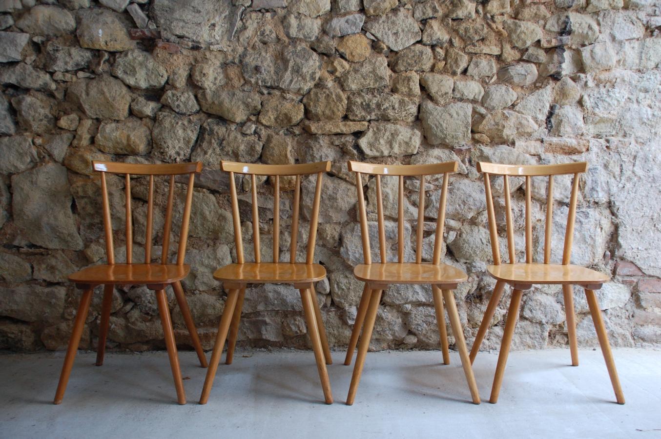 Holz Stühle Vintage Mid Century alt gebraucht vintage Speichenstühle (7) a