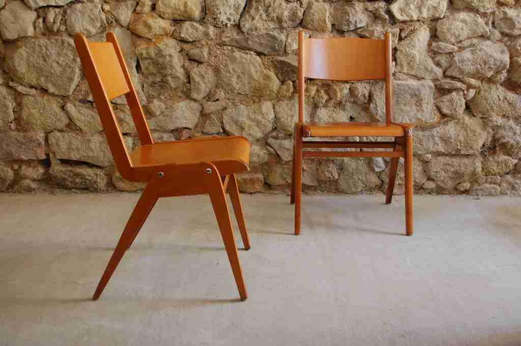 Buche Holz Stühle Casale Bauhaus stapelbar Vintage Retro 2hand 1950 1960 (8) 2