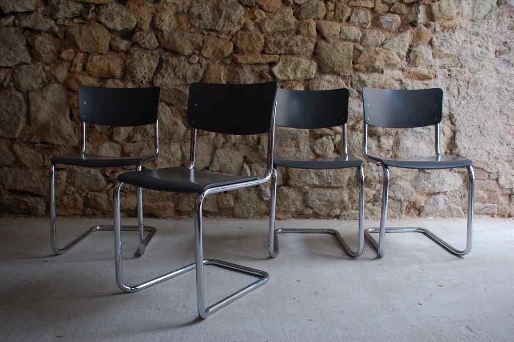 Thonet S43 Bauhaus Design Klassiker Stuhl Stahlohr Chrom Mart Stam Freischwinger