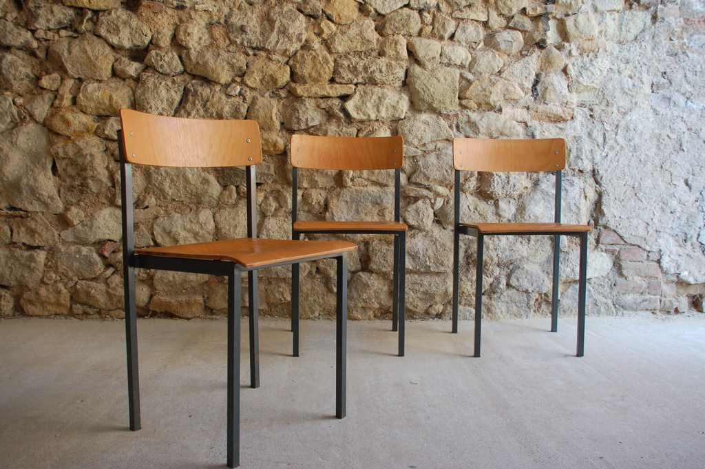 Stühle Chairs Vintage Retro Stahlrohr Holz alt gebraucht 1960 (1) 2