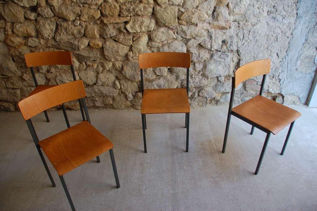 Stühle Aus Stahlrohr Und Holz Mid Century Modern Retro