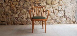 Antiker Armlehnenstuhl vintage Holzstuhl Buche Polster grün gebraucht 2han