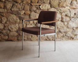 Bürostuhl Designerstuhl Designer Möbel Chrom Armlehnenstuhl Polster vintage 1960
