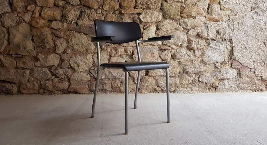 Ferdinand Kramer Designer Stuhl Uni Frankfurt Armlehne Midcentury Modern vintage alt gebraucht (1)