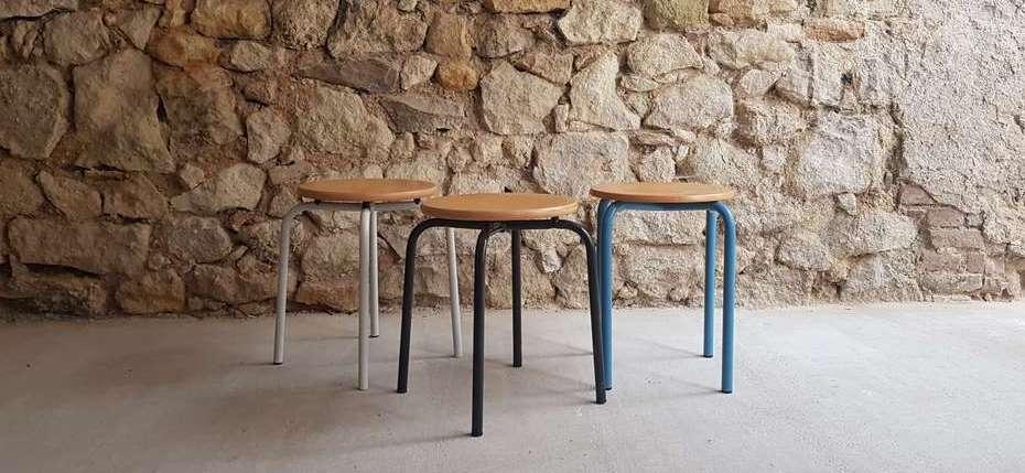Hocker vintage farbig blau weiß grau vintage retro möbel