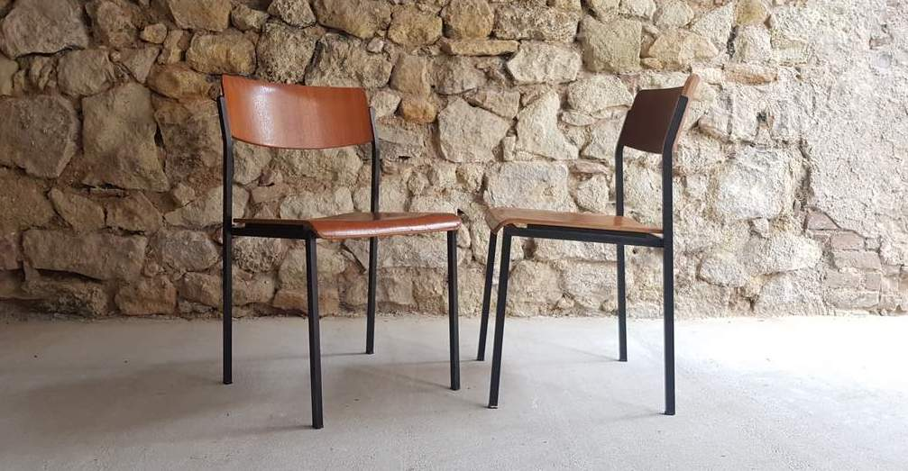 Stühle Mid Century Modern Stahlrohr 1960 vintage gebraucht gastro coworking (4)