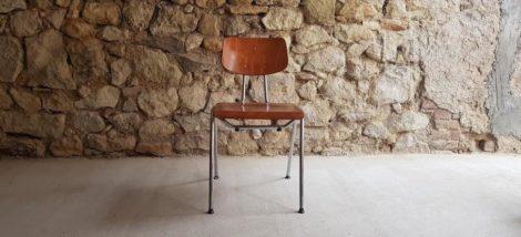 Stuhl Stahlrohr Chrom stapelbar Kantinenstuhl vintage Designer Möbel
