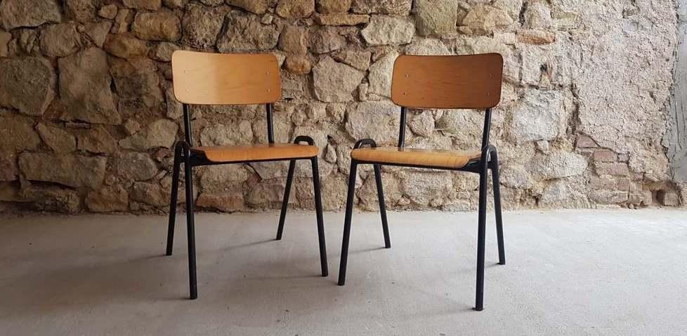 Vintage Schulstuhl alt gebraucht Stahlrohr Holz Werkstatt Möbel used 2hand (2)