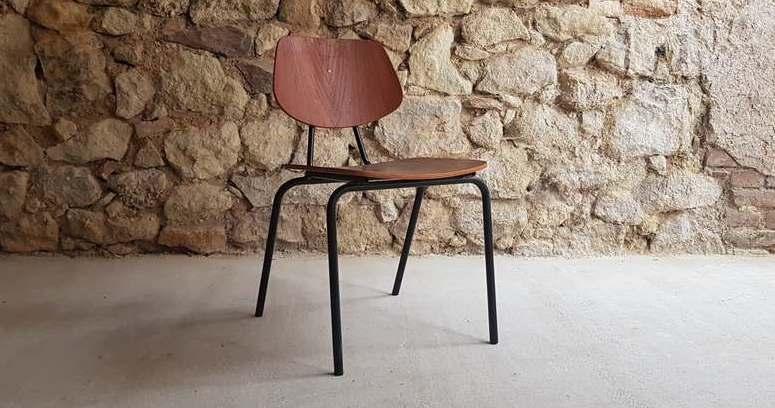 Vintage Stahlrohr Holz Teak Holz dunkel Mad Man Mid Century vintage Wohnzimmer Stuhl (4)
