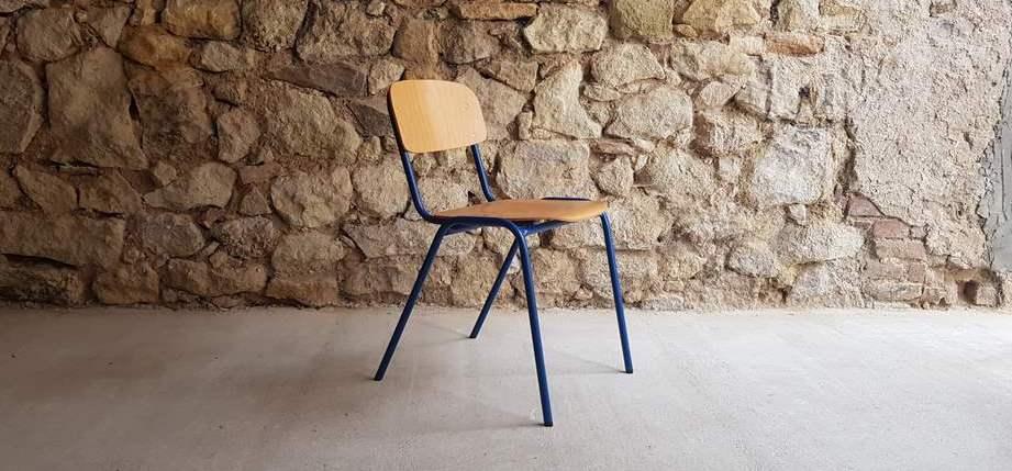 Kantinenstuhl Gastro Coworking alt gebraucht Stahlrohr Holz retro